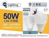 ADATA威剛照明 AL-BUA50C2-50W30C LED 50W 3000K 黃光 E27 全電壓 球泡燈 _ AD520026