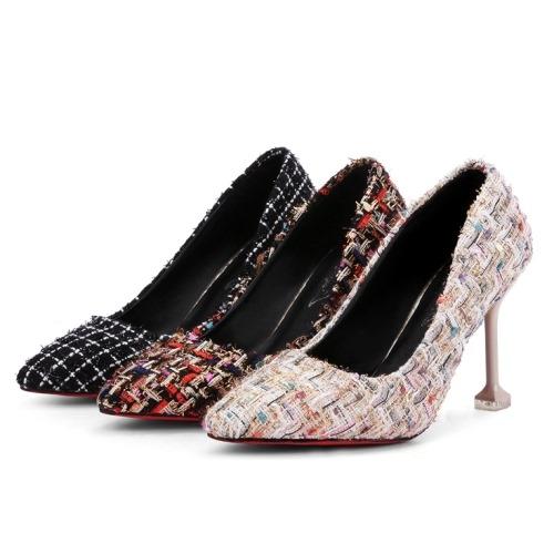 高跟鞋.氣質混色編織尖頭高跟鞋.白鳥麗子