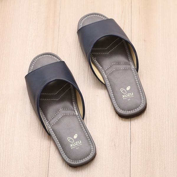 【333家居鞋館】台灣製優雅歐風室內皮拖鞋-藍色