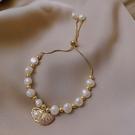 手鐲 貝殼淡水珍珠手鍊女精致學生閨蜜氣質手飾ins小眾設計手串手鐲潮 晶彩
