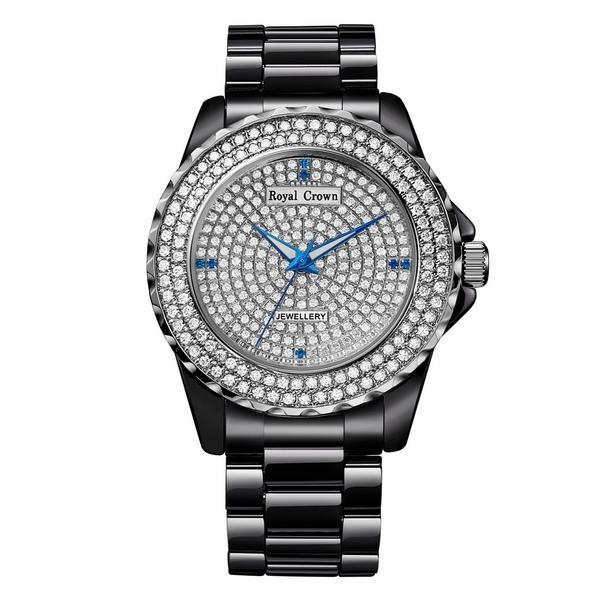 Royal Crown - 39mm時尚黑陶瓷滿鑽腕錶 RC女錶 情侶錶對錶
