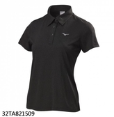 美津濃 MIZUNO 女短袖POLO衫 (黑) 透氣  舒適 32TA821509【 胖媛的店 】