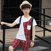 格子拼色短袖T恤短褲套裝男童裝兒子夏日帥氣百搭打底衫 全館免運
