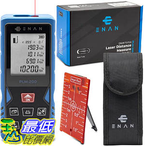 [9美國直購] Laser Distance Measure 雷射測距 200Ft -m/ft/in -volume, area time delay and 3 meter functions