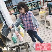 女童襯衫 粉藍格紋拼接長袖上衣 QB allshine