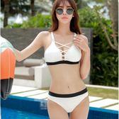 溫泉比基尼泳衣女性感小胸聚攏鋼托泳裝復古兩件式三角游泳衣 巴黎時尚