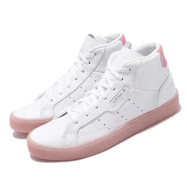 【五折特賣】adidas 休閒鞋 Sleek Mid W 白 粉紅 中筒 皮革 小白鞋 女鞋 【ACS】 FW5415