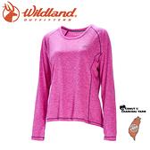 【Wildland 荒野 女 圓領雙色抗UV長袖上衣《紫紅》】0A71613/運動上衣/隔熱涼爽/吸濕快乾/登山旅遊