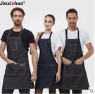 時尚牛仔圍裙 男女通用餐廳韓版工作服定制圍裙 2色