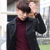 毛呢大衣-時尚商務韓版翻領短款男外套4色72e30[巴黎精品]