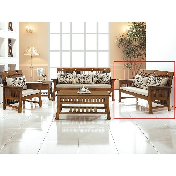 沙發組 CV-304-13 梅花柚木雙人椅 (不含大小茶几) (不含坐墊) (可拆賣)【大眾家居舘】