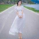 洋裝-露肩一字領短袖純色收腰女連身裙2色73pu68【巴黎精品】