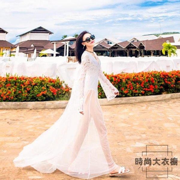 沙灘裙套裝海邊度假長裙韓國超仙顯瘦網紗連身裙【時尚大衣櫥】