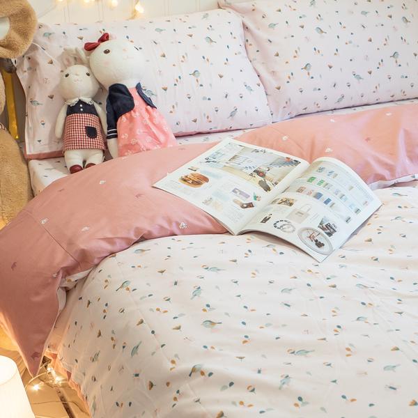 依比花園 D3雙人床包與兩用被四件組 100%精梳棉 台灣製 棉床本舖
