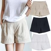 女裝夏季高腰亞麻寬管短褲女夏休閒褲大碼寬鬆棉麻純白色熱褲 艾瑞斯居家生活