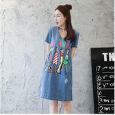 2017夏季新款韓版顯瘦有袖學生牛仔連衣裙YY2226『伊人雅舍』