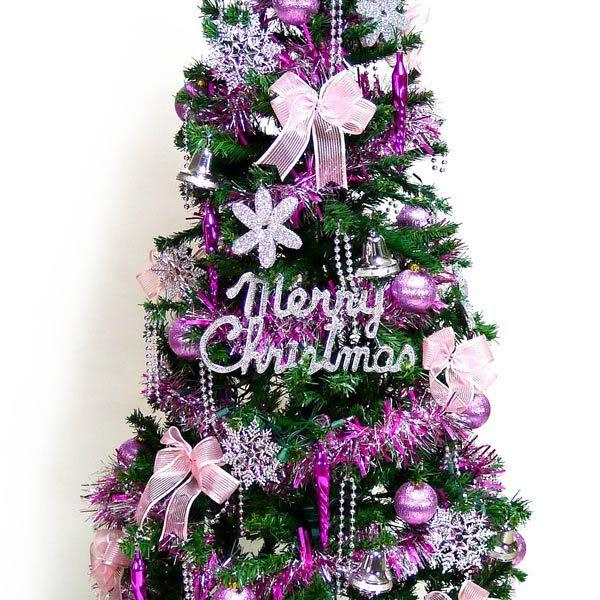 幸福5尺/5呎(150cm)一般型裝飾綠聖誕樹 (+銀紫色系配件+100燈LED燈1串)(本島免運費)