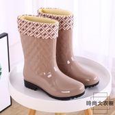 時尚雨鞋女士中筒大碼保暖雨靴防滑高筒膠鞋【時尚大衣櫥】
