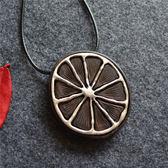 檀木古銀項鏈 韓國 東大門 時尚飾品 橘子花瓣長項鏈 毛衣鏈-夢想家- 0713