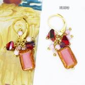 【粉紅堂 飾品】糖果色方塊珠珠耳環 *珊瑚粉 / 土耳其綠 / 透粉鏽*