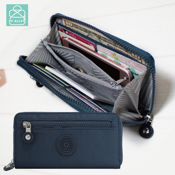 長夾 水洗尼龍經典簡約款 多卡層零錢包皮夾 可放iphone 女包 89.Alley-HL-8927