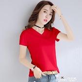 莫代爾棉 大紅色V領短袖t恤女上衣2020夏莫代爾棉半袖雞心領體恤修