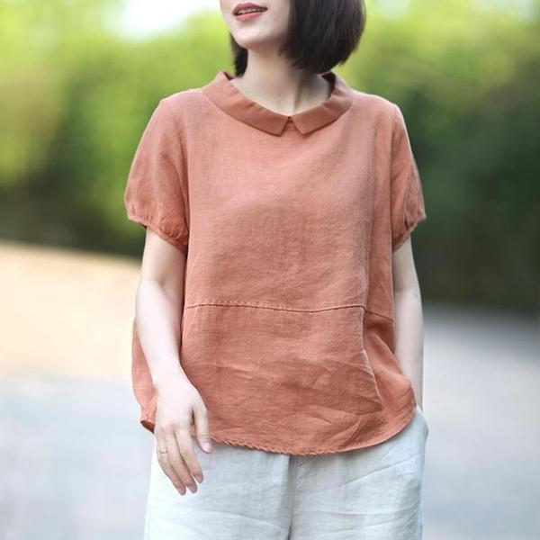 體?衫新款時尚休閒棉麻上衣女亞麻棉短袖翻領襯衫女復古港味