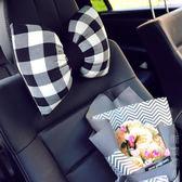 汽車靠枕可愛蝴蝶結車用抱枕汽車腰靠枕頭車載靠墊頭枕靠枕護頸枕女 NMS街頭潮人