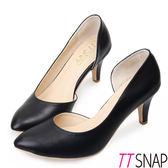 TTSNAP 高跟鞋-MIT側鏤空小尖頭真皮跟鞋 黑