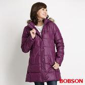 BOBSON 女款長版絲棉外套(紅紫34109-62)