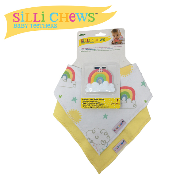 【愛吾兒】美國 SiLLi CHeWS 咬牙器+圍兜2入組-彩虹天空/美國設計(SC-67)