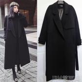 毛呢外套中長修身韓版黑色繫帶呢子大衣女加厚過膝顯瘦毛呢外套 簡而美