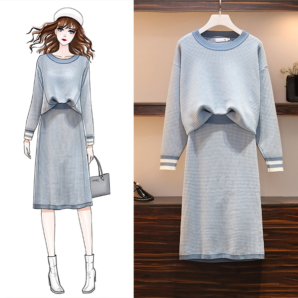 VK旗艦店 韓國風時尚小格紋氣質針織套裝長袖裙裝