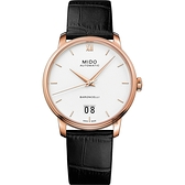 MIDO美度 BARONCELLI 永恆系列 III 大日期機械錶-銀x黑色皮帶/40mm M0274263601800