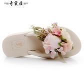 波西米亞海邊花朵沙灘鞋女夏韓版時尚人字拖厚底防滑度假外穿拖鞋