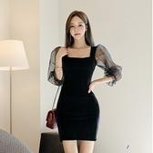 出清388 韓國風荷葉邊透視網紗袖拼接修身長袖洋裝