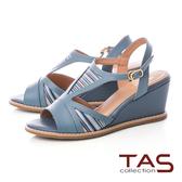 TAS 寬繫帶條紋側鏤空楔型涼鞋-天空藍