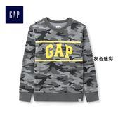 Gap男童 Logo舒適圓領長袖休閒上衣 441446-灰色迷彩