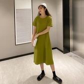 洋裝 裙子女2020春夏新款中長款t恤裙寬鬆顯瘦過膝短袖牛油果綠連衣裙 歐歐