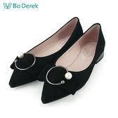 【Bo Derek 】平結C環珍珠平底鞋-黑色
