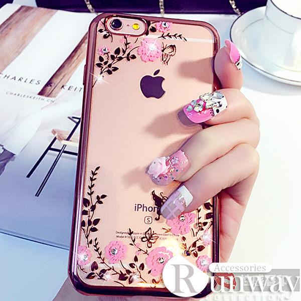 【R】秘密花園 iPhone6 電鍍花邊鑲鉆保護殼 蘋果6s plus防刮花TPU手機軟殼 碎花保護套 軟殼