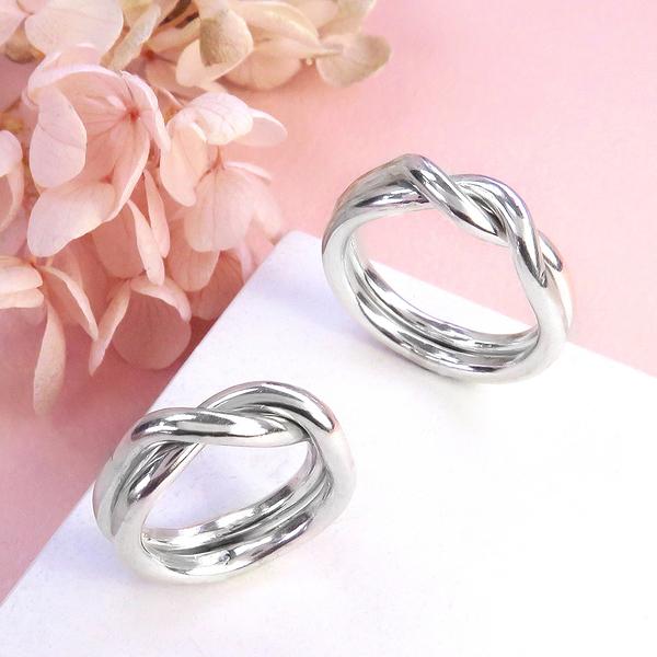 雙環交疊戒 (對戒兩只戒指) 925純銀對戒/戒指 ART64