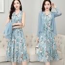 洋裝 兩件套雪紡連身裙女韓版夏季女裝20...