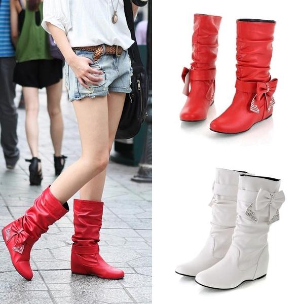中筒靴 冬季單靴子女春冬中筒靴內增高平底馬丁靴 萬客居