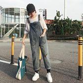 中大尺碼 女裝韓版個性破洞寬松九分褲牛仔褲背帶褲顯瘦學生直筒褲長褲 LI2506『時尚玩家』
