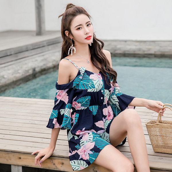 VK旗艦店 韓國風新款復古度假風吊帶連身褲裙套裝短袖褲裝