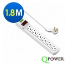 Qpower太順電業 太超值系列 TC-166 3孔1切6座延長線-1.8米