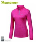【Mountneer 山林 女 雲彩針織保暖上衣《深玫紅》】22P16/保暖長袖/休閒長袖