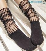 黑五好物節女童公主網紗堆堆襪拼接中筒襪2雙【洛麗的雜貨鋪】