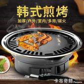 圓形燒烤爐戶外木炭全套不銹鋼韓式無煙家用商用燒烤架烤肉鍋煎盤 卡布奇諾igo